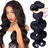 SEGO Extension Matassa Capelli Veri Tessitura Ricci Mossi Body Wave Virgin Human Hair 100% Remy 3 Bundles Nero Naturale (50cm 55cm 60cm, 300g)