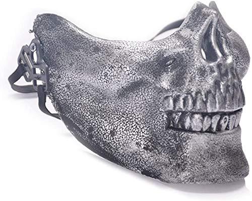 Plastic Masker van de Schedel van het skelet Hunting Half gezicht te beschermen Halloween Costume Airsoft Mask Gear Mask Cosplay Accessoires Silver lsmaa
