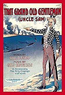 Vintage sheet music cover of Uncle Sam pointing to a parade of warships below in action with a bombardment of the coast Produced during the Patriotic fervor of World War 1 Poster Print by unknown (24
