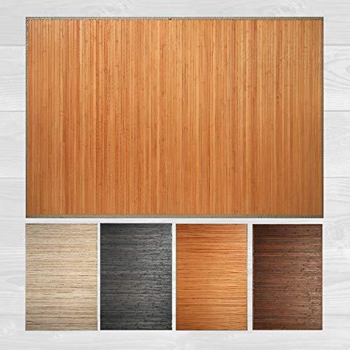 LucaHome – Alfombra bambú Uganda Ideal para Interior o Exterior, Alfombra bambú para Cocina, salón, despacho, Dormitorio con Cenefa, Alfombra de bambú Antideslizante (Natural, 160x230cm)