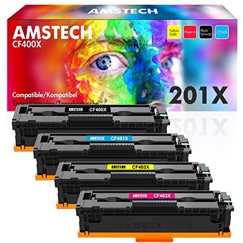 Amstech Kompatibel Toner Cartridge Replacement für HP 201X 201A CF400X CF400A für HP Color Laserjet Pro MFP M277dw M277n HP Laserjet Pro M252dw M252n HP MFP M274n M277 M277c6 M252 CF401X CF402X CF403X