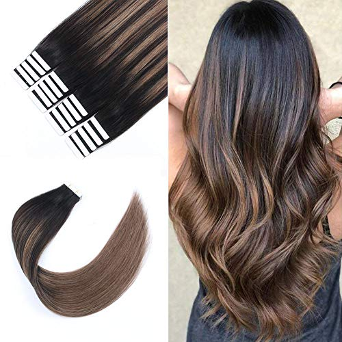 Sixstarhair Silky Straight Beautiful Balayage Color New Trend Tape in Hair Extensions Dark Brown Fading to Chestnut Brown Remy Human Hair Ombre and Piano Colors [B2-6 18inch]