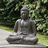 wanda collection Statue Bouddha Assis Position offrande Brun 42 cm