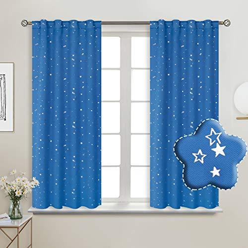 BGment Vorhänge Sterne Verdunkelungsvorhänge Blickdicht Gardine mit Stangendurchzug und Rückenschlaufen Kälte- und Wärmeisolierung für Kinderzimmer Schlafzimmer, H 137 X B 117cm, 2 Stück, Blau