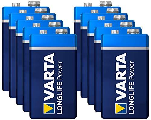 VARTA 9V Block Longlife Power 4922 Batterie MN1604 6LR61 Alkaline 9 V, 10 Stück