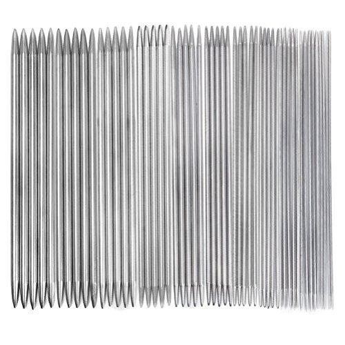 rosenice Agujas de tejer de acero inoxidable, doble punta, para bufandas, calcetines, guantes y gorros, 11 juegos de 55 unidades