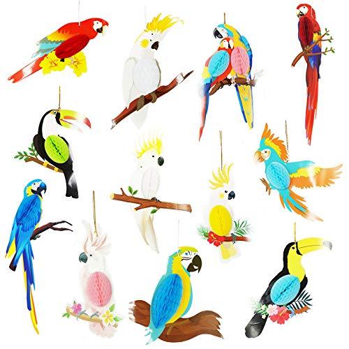 DUGYIRS 12 Piezas Recortes Papel Panal Pájaros Tropicales Panal loro Tiki Bar Hawaiian Summer Beach Luau Party Decoraciones Colgantes para Suministros Fiesta Cumpleaños
