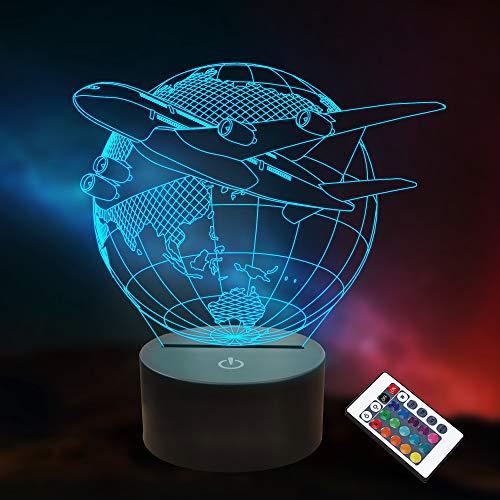 Avión 3D Ilusión Luz de noche LED Tierra Lámpara de mesa 16 colores Regalos de cumpleaños para niños Hombres Piloto Decoración de habitación de oficina