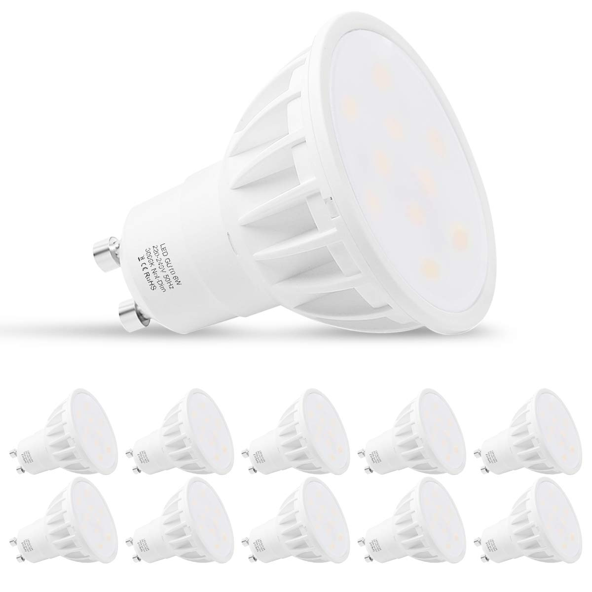 GU10 LED Light Bulbs, LEHASI Warm White 3000K LED Spot Light Bulbs, 6W Equivalent to 50W Halogen Bulb, 500Lm, 230V, Non Dimmable, 120 Degree Beam Angle, Ideal for Home Lighting, Pack of 10