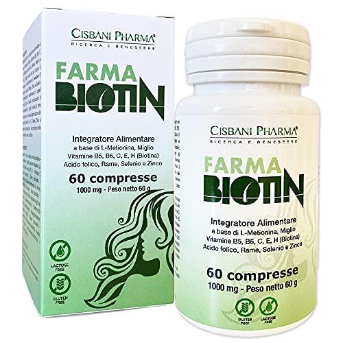 FarmaBiotin Integratore Capelli, Unghie, Pelle | BIOTINA, Zinco, Selenio e Vitamine per capelli| 60 compresse | Anticaduta Crescita rapida, Nutre, Rinforza | Integratore capelli donna Biotina capelli