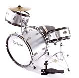 Premium Children's Junior Beginners Silver 3 Piece 12 Inch Drum Set with Chair, Sticks, Stool, Adjustable Tuning Key, Pick + Free Lessons