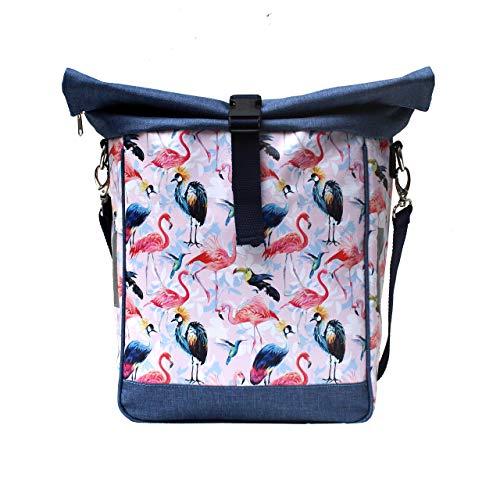 IKURI Fahrradtasche für Gepäckträger Einzeltasche Packtasche - Motiv Flamingo - abnehmbar mit Tragegurt zum Umhängen Aus Plane Für Damen Wasserdicht - Modell Pajaros