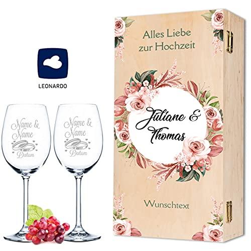Leonardo Weingläser mit Gravur von Namen & Datum im - Pink & White Roses Design - als Geschenk zur Hochzeit, Verlobung oder zum Jahrestag - inkl. bedruckter Vintage-Holzkiste - das Hochzeitsgeschenk