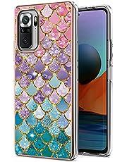 TYWZ IMD Design Anti-Yellow Case Cover voor Xiaomi Redmi Note 10 Pro,Slanke schokbestendige zachte rubberen siliconen beschermhoes voor vrouwen meisjes-kleurrijke visweegschalen