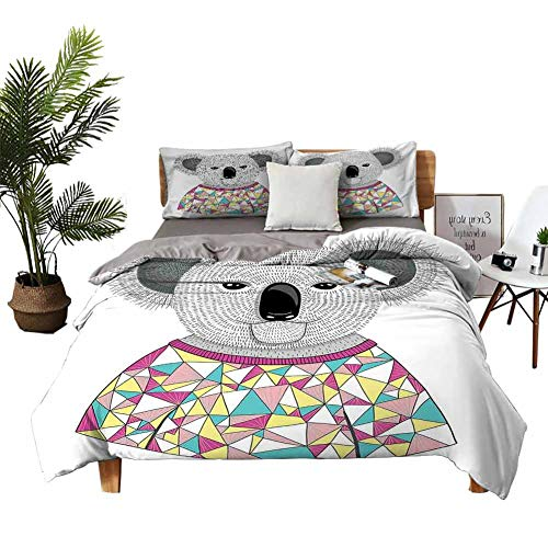 DRAGON VINES Cotton Sheets Koala Queen Bed Sheets Hipster Koala with Colorful Polygonal Shirt with Angular Triangles Australian Animal W79 xL90 Multicolor