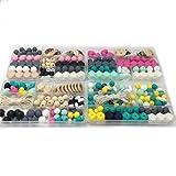 Coskiss DIY Silicone Molar Kit Color mezclado Geométrico Hexagonal Bead de silicona Alphabet Bead de silicona Número de Bead de silicona Abacus Bead de silicona Baby Teether Toy Set