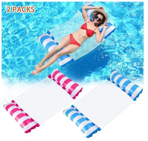 WIIBROOK Hamaca hinchable de agua, 2 unidades, cama de natación 4 en 1, hamaca para adultos y niños, colchón de aire, colchón flotante para piscina, color rosa y azul