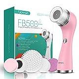VOYOR 5 En 1 Recargable Cepillo Limpiador Facial Electrico Limpieza Facial Minimizador de Poros Removedor de Piel Muerta Cepillo Removedor de Maquillaje Cepillo Limpiador Corporal FB500 (Rosa)