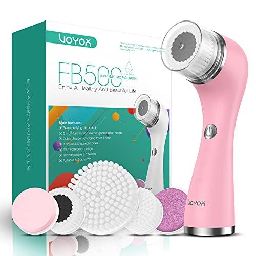 VOYOR 5 En 1 Recargable Cepillo Limpiador Facial Electrico Limpieza Facial Minimizador de Poros Removedor de Piel Muerta Cepillo Removedor de Maquillaje Cepillo Limpiador Corporal FB500 (Blanco)