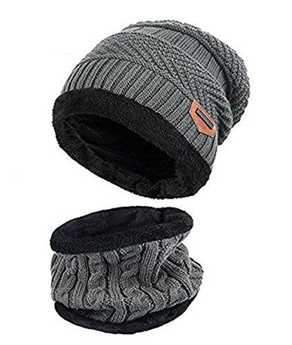 ZZLAY Kinder Winter Dicke Beanie Hut Schal Set Slouchy Warmen Schnee Knit Skull Cap,Einheitsgröße,Grau