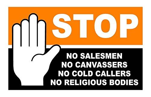 Stop Cold Calling Deur Sticker - Geen Koude bellers - Geen Religieuze Groepen - Geen Verkopers - Volledig Weerbestendig Teken