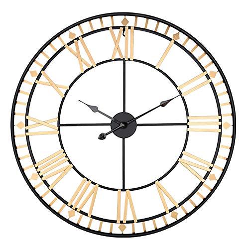 BCXGS 80cm grote ronde wandklok, opknoping horloge met Romeinse cijfers, gemakkelijk te lezen, voor Hotel Home Bar Office Decor