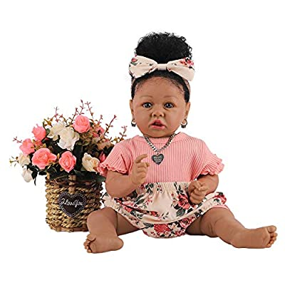 HOOMAI Lifelike Reborn Baby Dolls with Soft Body African American Realistic Girl Doll 22.8 Inch Best Birthday Gift Set from HOOMAI