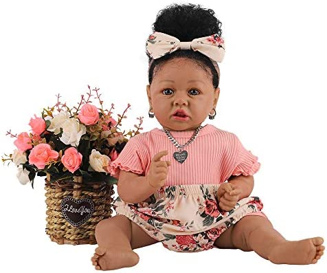HOOMAI Lifelike Reborn Baby Dolls with Soft Body African American Realistic Girl Doll 22 8 Inch product image