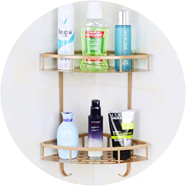 SHOW Bathroom Corner Shelf No Drill Shower Caddy Organizer Aluminum Without Drilling Screw Free Wall Mount,Gold,2tier