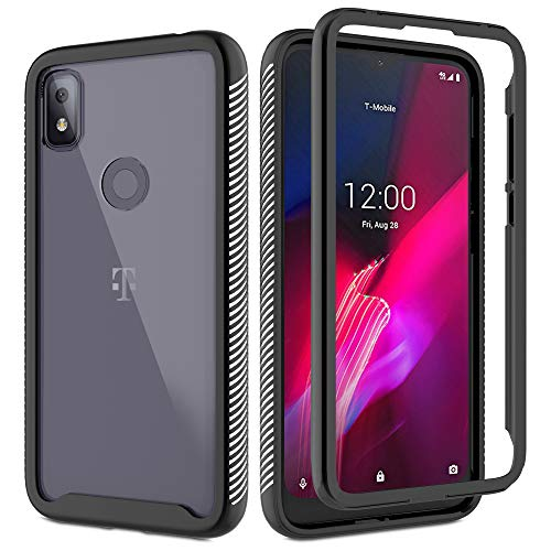 Compatible for T-Mobile Revvl 4 Case 6.22-Inch with HD Screen Protector, Gritup [Military Grade] Clear Crystal Bumper Full Body Shockproof Slim Fit Protective Phone Case for TCL Revvl 4 Black