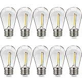 Suncan Bombilla LED Edison S14 E27, 1 W = 10 W, vintage, filamento, plástico, blanco cálido 2700 K, ángulo de haz de 360°, no regulable, 10 unidades