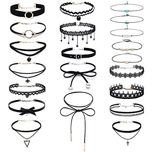Edivoi 21 Stück Choker Halsketten Set Gummi Halsband Tattoo-Kette Schmuck-Sets Damen-Schmuck Velvet Halskette Tattoo Halsband, -16 Schwarzen Samt-Halsketten, -5 Perlen-Perlen-Halsketten