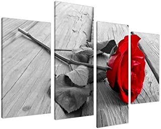 Red Rose Floral Black White Canvas Wall Art Pictures Set 130cm Wide XL Prints,4 Panel Canvas Prints Artwork Modern Paintings Wall Art Home Decoration Stretched and Framed Ready to Hang