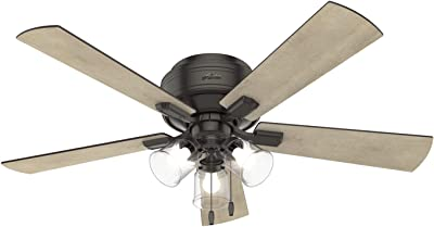 """HUNTER 54208 Crestfield Indoor Low Profile Ceiling Fan with LED Light and Pull Chain Control, 52"""", Noble Bronze"""