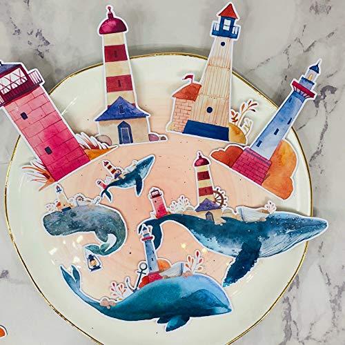 BLOUR 12 Stück Wal und Leuchtturm Aufkleber Retro Kawaii Aufkleber Kind Aufkleber DIY Tagebuch Clipart Foto