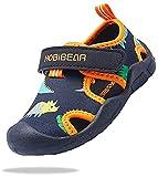 ChayChax Chaussures Aquatique Enfant Séchage Rapide Sandales de Sport Garçon Fille Bébé Bout Fermé Sandales Outdoor Chaussures de Plage, Noir Orange, 23 EU