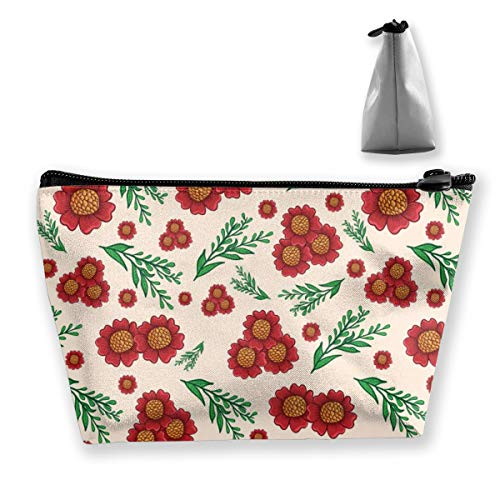 Multi-Functional Print Trapezoidal Storage Bag for Female Red Sunflower