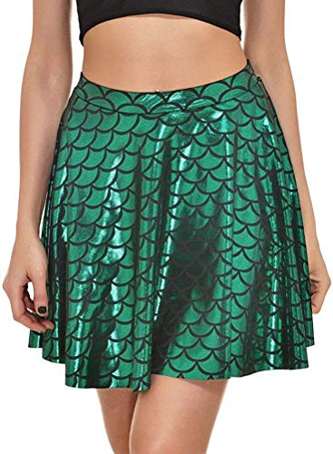 Halloween Costume Fish Scales Mermaid Skirts for Girls Green Plus Size