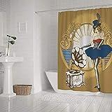 Ruchen - Cortina de ducha impermeable para baño, diseño de cabaret Singer Retro Miss American 183 cm, poliéster, multicolor, 72x72 inch(183×183cm)
