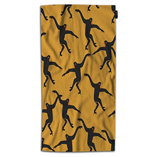 Beabes Black Gibbon Monkey Hand Towels Animal Print The Silhouette of Funny Animal Jungle Ape Hand Towels Kitchen Hand Towels for Bathroom Soft Polyester-Microfiber 30Lx15W Inch