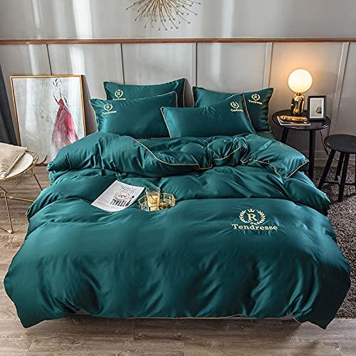Juegos de Fundas nordicas para Cama 150,Lavado de agua de verano Bordado de seda Set de lecho de lecho de color sólido de cuatro camas-Di_Conjunto de 4 piezas de cama de 2.0m - 420 * 240 cm