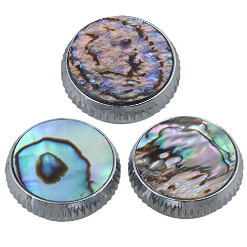 Yibuy 0.62x0.4inch Chrome Plated Abalone Shell Finger Button Wind Instruments Accessory Pack of 3