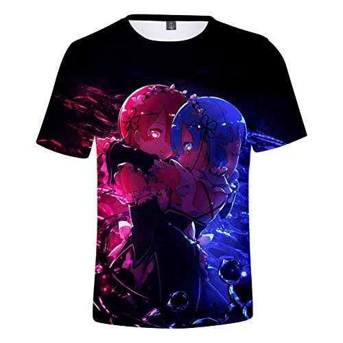 Rundhals Top Sommer Kurzarm Halbarm 3D Druck Re:Life in A Different World from Zero Ram Rem Grafik Sweatshirts Shirts,XXXXL
