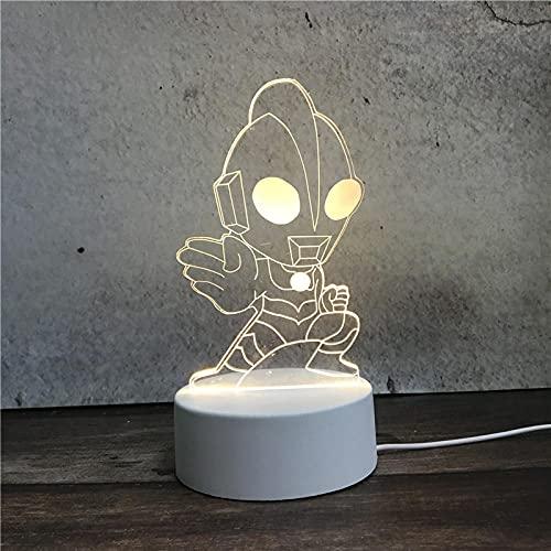 Luz Nocturna ,Lámpara De Ilusión Óptica Led 3D Con Placas Acrílicas De Patrones,Lámpara De Visualización Creativa Usb Regalo Para Niños,Ultraman
