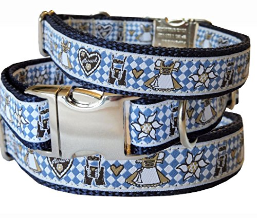 BGDesign Hundehalsband Bayern Edelweiss Tracht Oktoberfest blau Nylon Halsung Band Halsband Schnalle 29-44 cm x 2,0 cm
