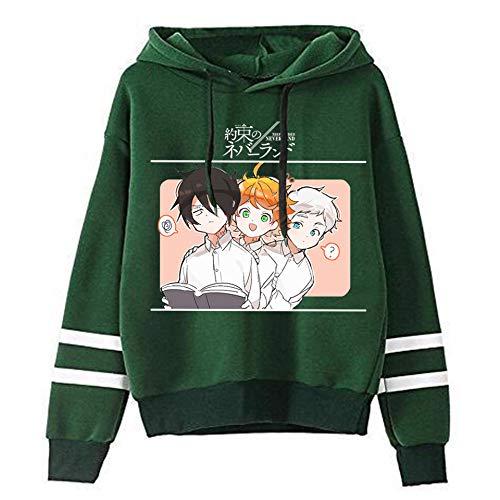 Novo moletom com capuz The Promised Neverland Emma Norman Ray Cosplay Anime manga longa listrada suéter para homens e mulheres, Verde - A, M