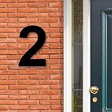 Huisnummer Acryl zwart, cijfer 2, Hoogte 16cm