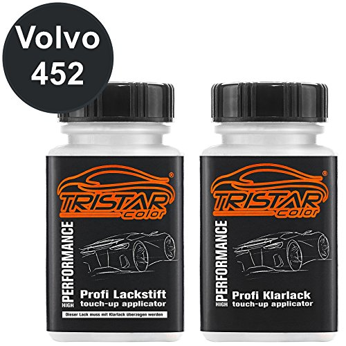 TRISTARcolor Autolack Lackstift Set für Volvo 452 Black Saphire Metallic/Noir Braise Metallic Basislack Klarlack je 50ml