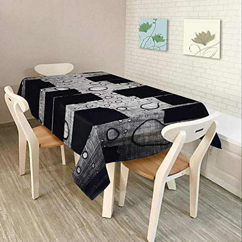 Alayth Manteles ULE Mesa Rectangular Mantel De Poliéster 3D para Cocina Gris Negro Mantel Rectangular Impermeable para Boda-140cmx180cm_Color2