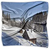 Mixed Designs Silk Square Scarves Bandana Scarf, Log Cabins In The Mountains Sunny Winter Day Rural Scene Holiday Vacation,Womens Neck Head Set